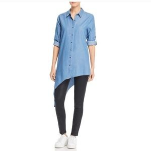 Kenneth Cole Asymmetric Chambray Button Down Top